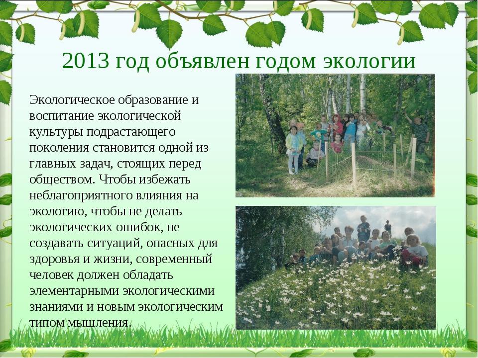 2013 год объявлен годом экологии Экологическое образование и воспитание экол...