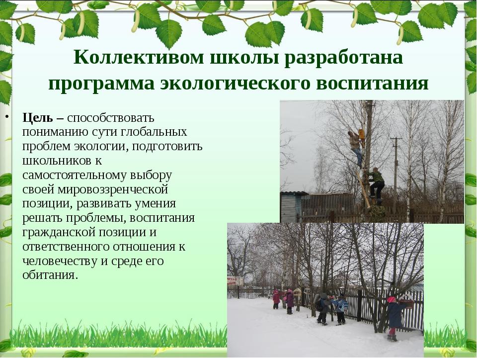 Коллективом школы разработана программа экологического воспитания Цель – спос...