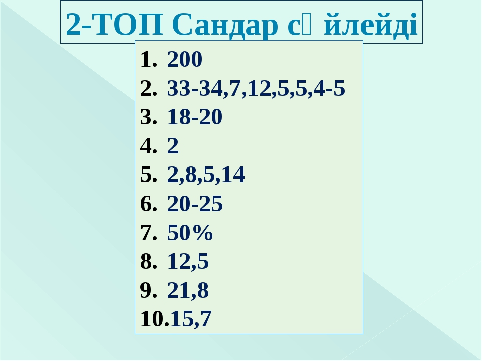 2-ТОП Сандар сөйлейді 200 33-34,7,12,5,5,4-5 18-20 2 2,8,5,14 20-25 50% 12,5...