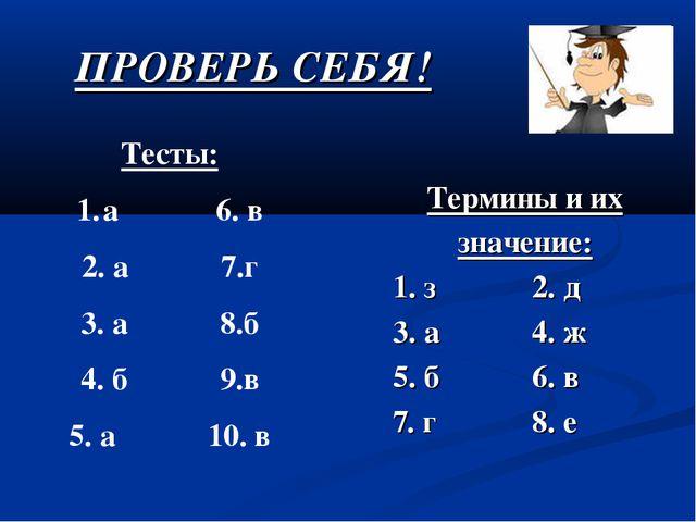ПРОВЕРЬ СЕБЯ! Термины и их значение: 1. з2. д 3. а4. ж 5. б6. в 7. г8...