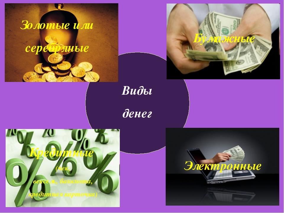 Виды денег Золотые или серебряные Золотые или серебряные Кредитные (чек, векс...