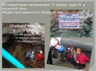 На территории заповедника 75 пещер, ещё 29 в охранной зоне. Общая протяженнос