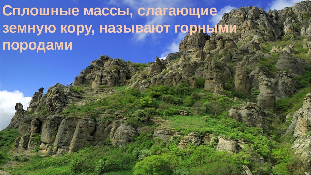Сплошные массы, слагающие земную кору, называют горными породами