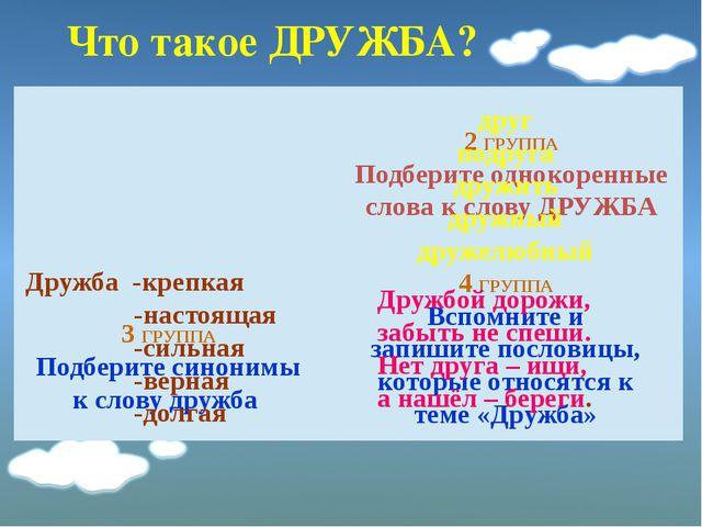 1 ГРУППА Найдите значение в толковом словаре Дружба – это близкие отношения,...