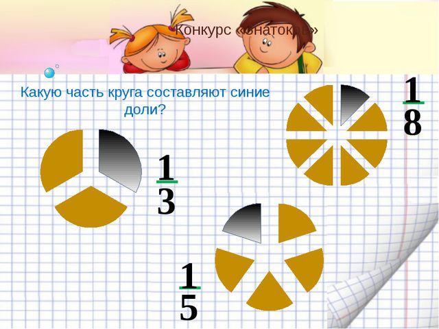 Конкурс «Знатоков» Какую часть круга составляют синие доли? 3 1 8 1 5 1 ДОЛИ
