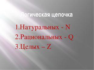 Логическая цепочка 1.Натуральных - N 2.Рациональных - Q 3.Целых – Z