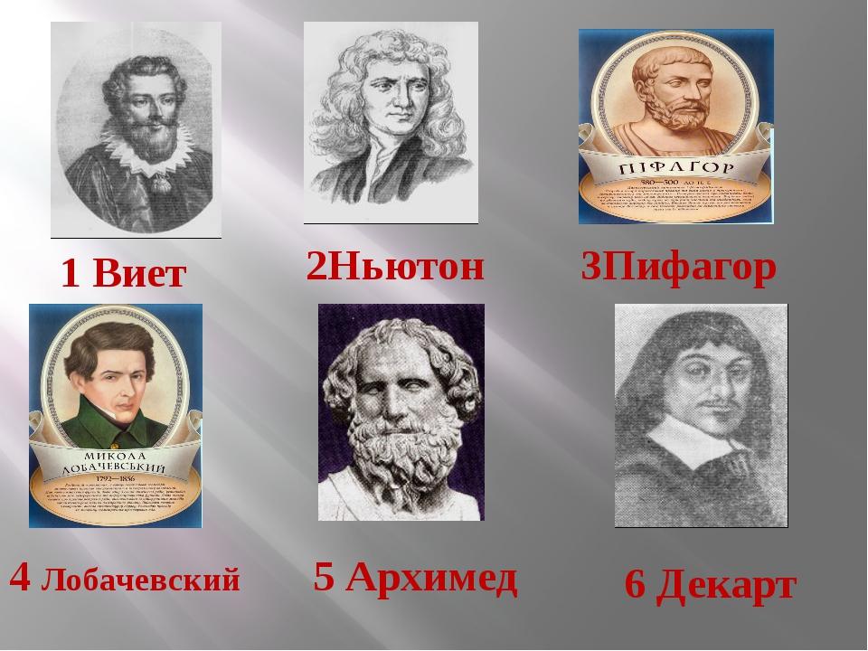 3Пифагор 4 Лобачевский 1 Виет 2Ньютон 6 Декарт 5 Архимед