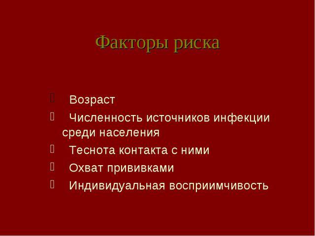 Факторы риска Возраст Численность источников инфекции среди населения Теснота...