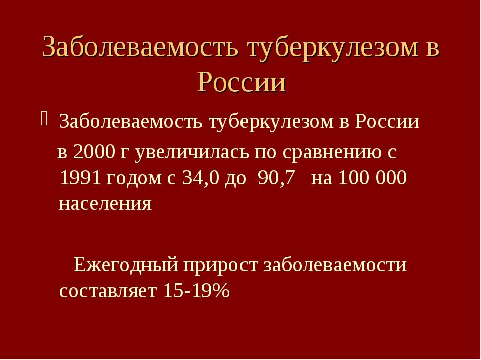 Заболеваемость туберкулезом в России Заболеваемость туберкулезом в России в 2...
