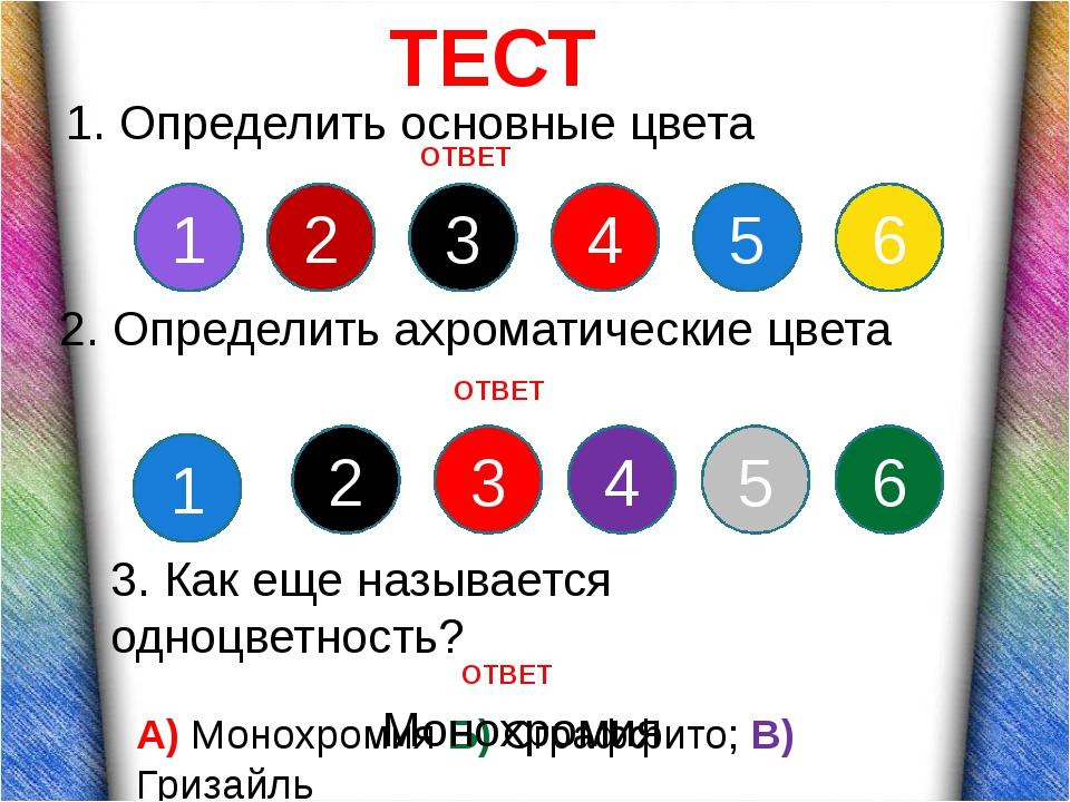 ТЕСТ 1. Определить основные цвета 1 2 3 4 5 6 1 2 3 4 5 6 2. Определить ахро...