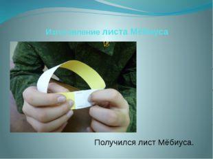 Изготовление листа Мёбиуса Получился лист Мёбиуса.