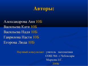 Авторы: Александрова Аня 10Б Васильева Катя 10Б Васильева Надя 10Б Гаврилова