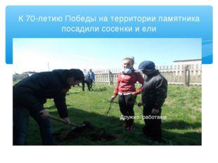 К 70-летию Победы на территории памятника посадили сосенки и ели Дружно работ