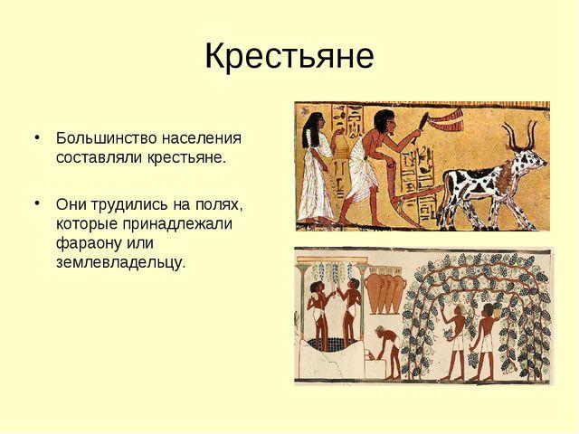 Крестьяне Большинство населения составляли крестьяне. Они трудились на полях,...