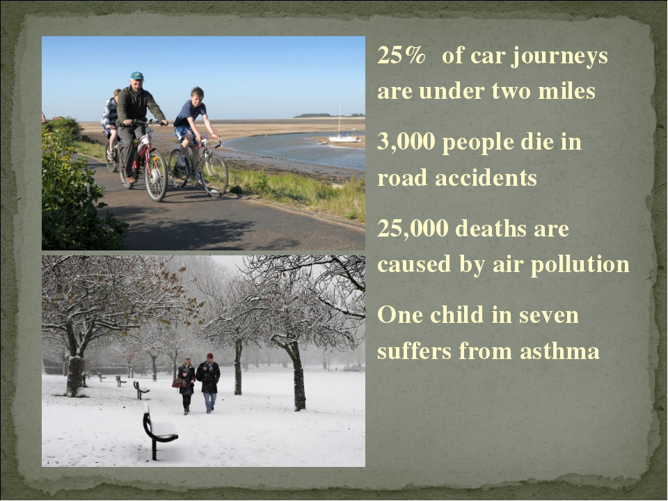 25% of car journeys are under two miles 3,000 people die in road accidents 25...