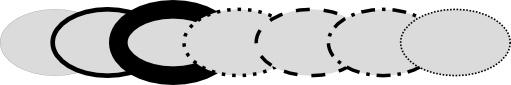 эллипсы с разным стилем обводки в inkscape