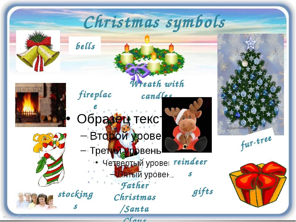 Christmas symbols reindeers bells stockings fireplace Father Christmas/Santa...
