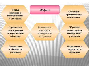 Использова-ние ИКТ в преподавании и обучении Оценивание для обучения и оценив