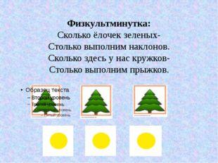 Физкультминутка: Сколько ёлочек зеленых- Столько выполним наклонов. Сколько з