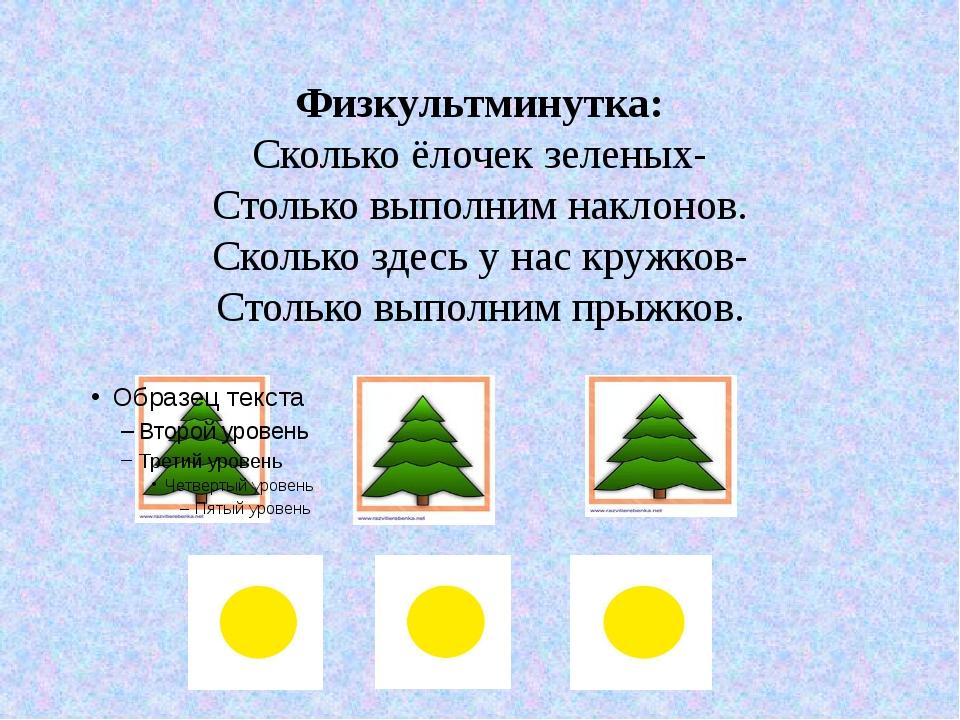 Физкультминутка: Сколько ёлочек зеленых- Столько выполним наклонов. Сколько з...