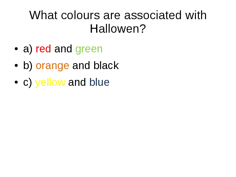 What colours are associated with Hallowen?