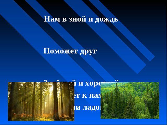 Нам в зной и дождь Поможет друг Зелёный и хороший – Протянет к нам десятки р...