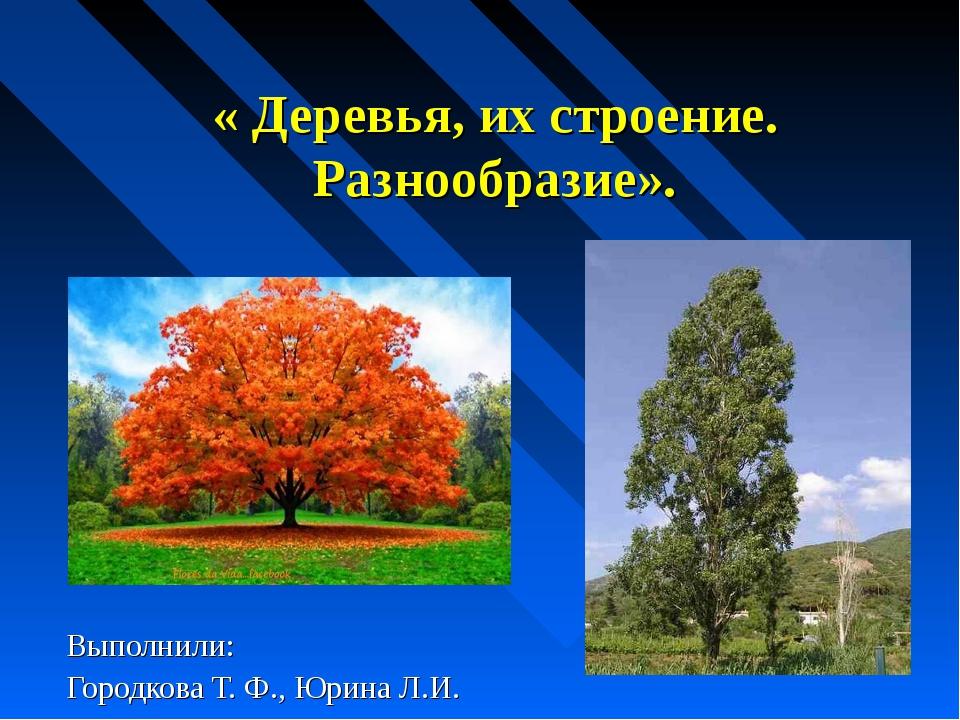 « Деревья, их строение. Разнообразие». Выполнили: Городкова Т. Ф., Юрина Л.И.