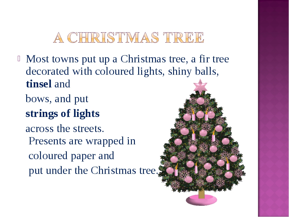 Most towns put up a Christmas tree, a fir tree decorated with coloured lights...