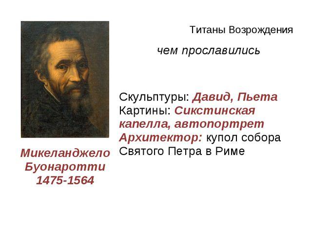 Титаны Возрождения Деятеличем прославились Микеланджело Буонаротти 1475-1564...