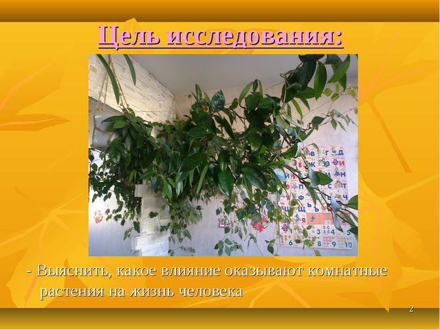 * Цель исследования: - Выяснить, какое влияние оказывают комнатные растения н...