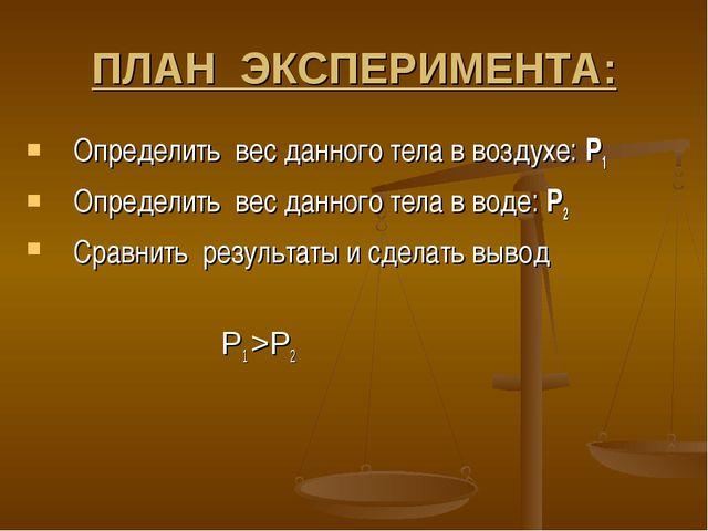 ПЛАН ЭКСПЕРИМЕНТА: Определить вес данного тела в воздухе: Р1 Определить вес д...