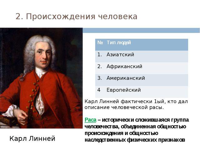 2. Происхождения человека Карл Линней Карл Линней фактически 1ый, кто дал опи...