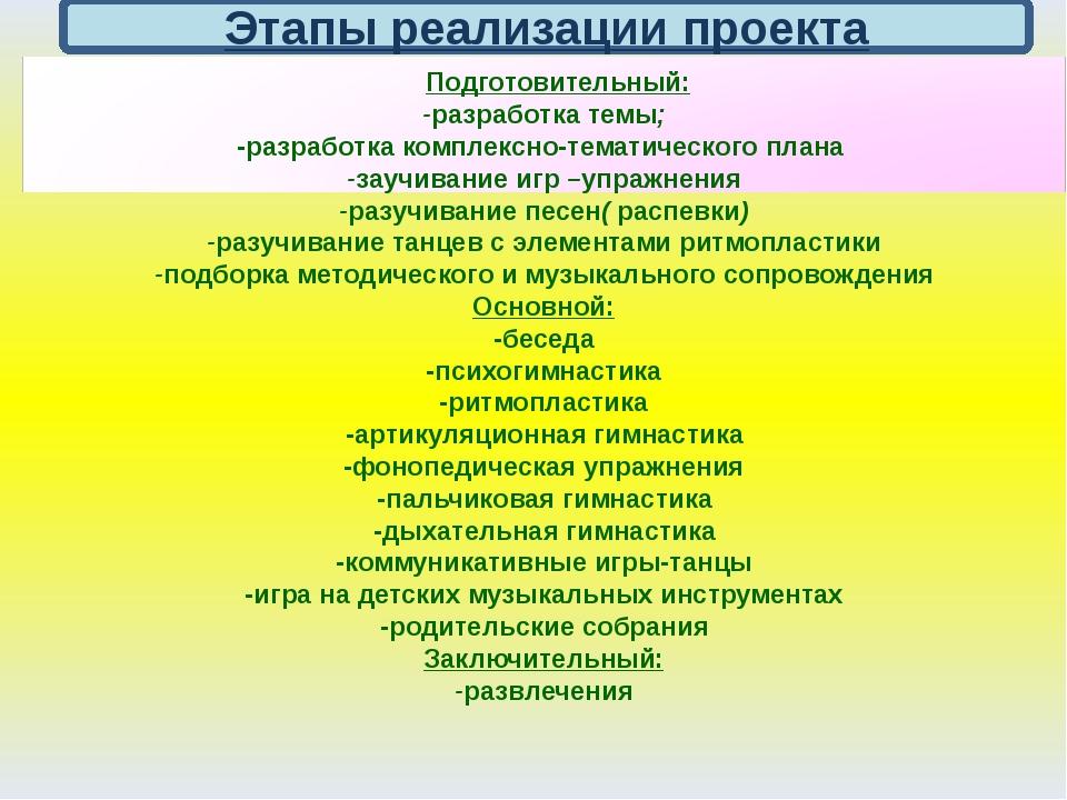 Этапы реализации проекта Подготовительный: -разработка темы; -разработка ком...