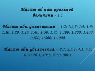 Масшт аб нат уральной величины - 1:1 Масшт абы уменьшения – 1:2; 1:2,5; 1:4;