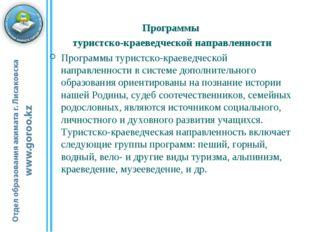 Программы туристско-краеведческой направленности Программы туристско-краеведч