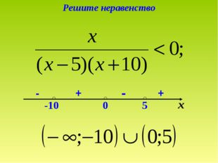 Решите неравенство х 0 -10 5 + - + -