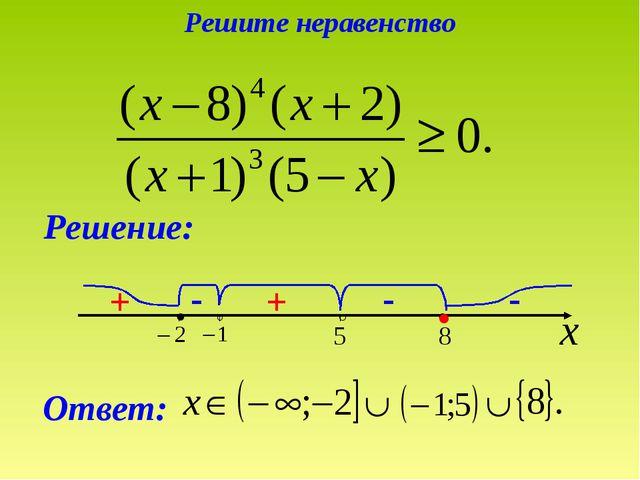 - - + Решение: Ответ: ● - + + + Решите неравенство