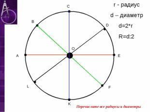 А В С D E F K L O r - радиус d – диаметр d=2*r R=d:2 Перечислите все радиусы