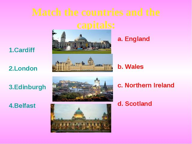 Match the countries and the capitals: 1.Cardiff 2.London 3.Edinburgh 4.Belfas...