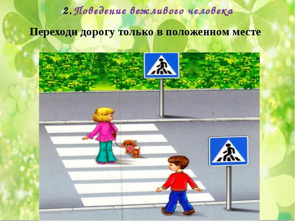 Поведение вежливого человека Переходи дорогу только в положенном месте