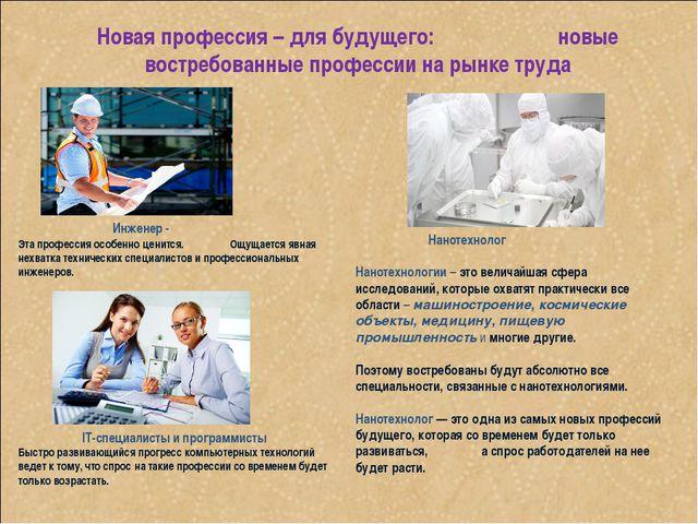 Новая профессия – для будущего: новые востребованные профессии на рынке труда...