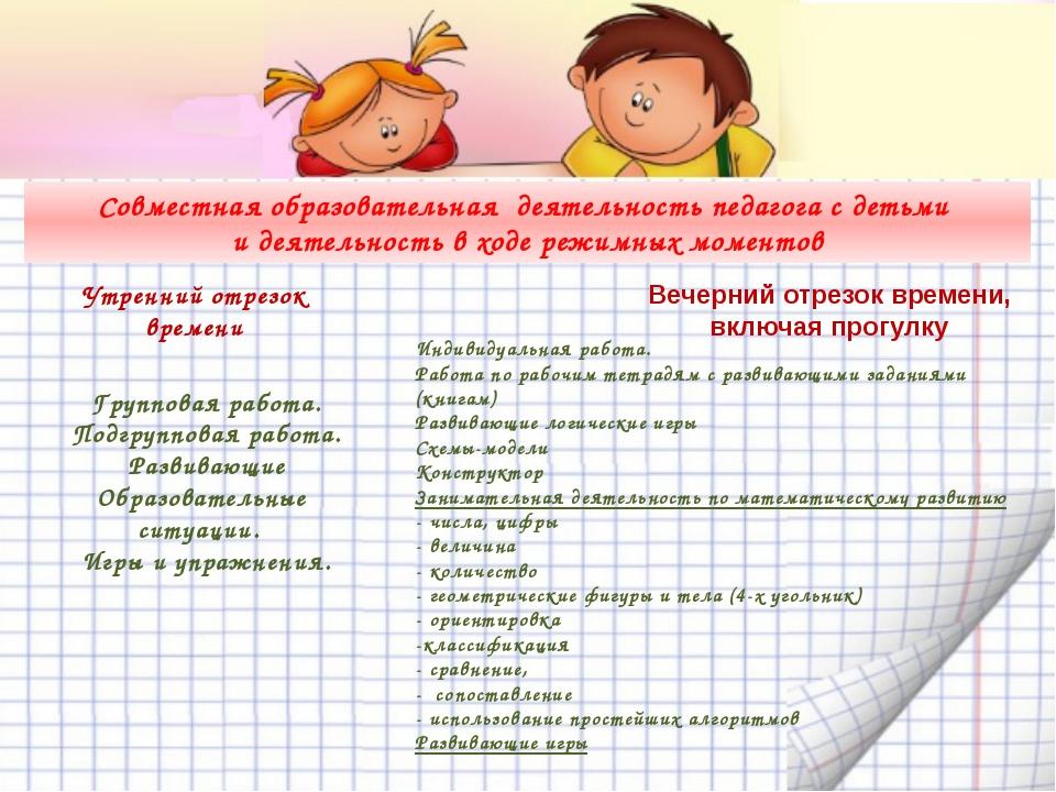 Совместная образовательная деятельность педагога с детьми и деятельность в х...