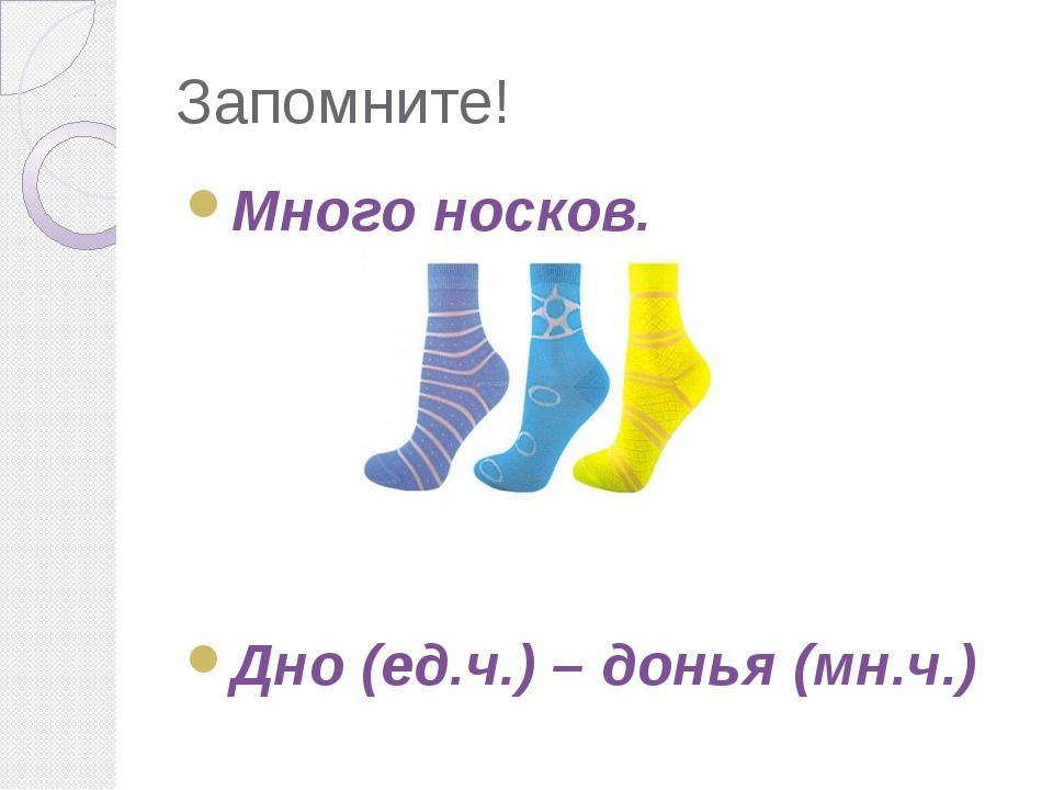 Запомните! Много носков. Дно (ед.ч.) – донья (мн.ч.)