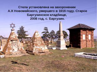 Стела установлена на захоронении А.Х Новомейского, умершего в 1916 году. Стар