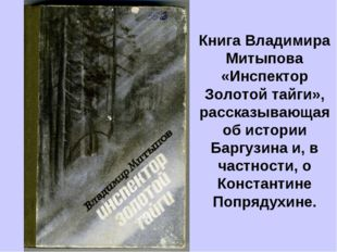 Книга Владимира Митыпова «Инспектор Золотой тайги», рассказывающая об истории
