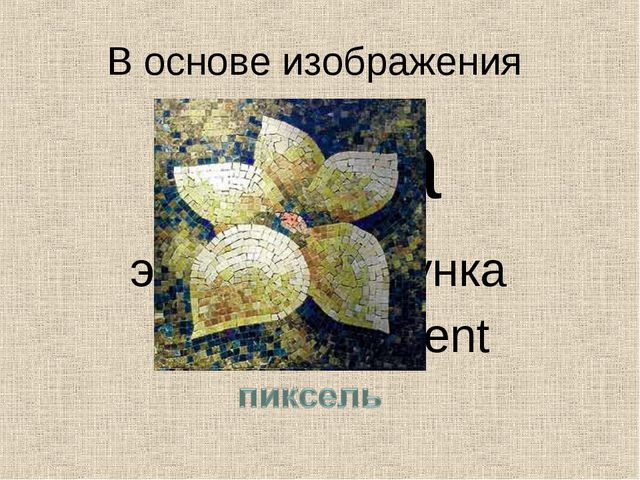 В основе изображения точка элемент рисунка picture element
