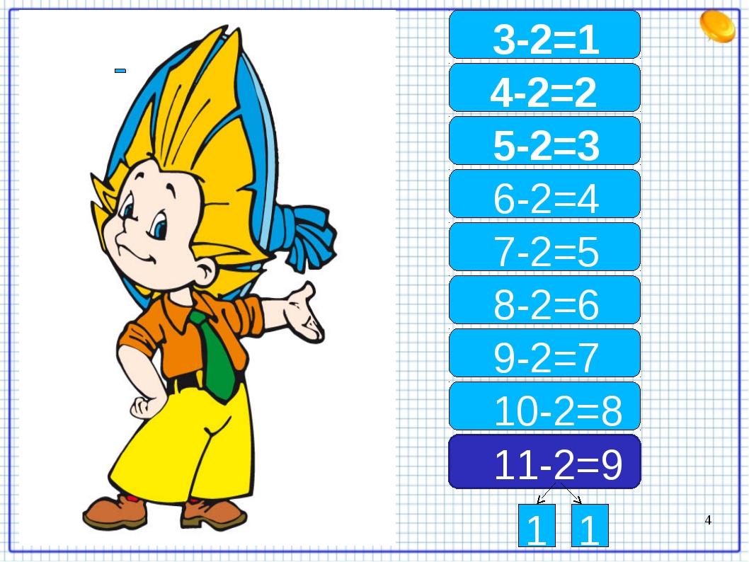 11-2=9 10-2=8 8-2=6 9-2=7 7-2=5 6-2=4 5-2=3 4-2=2 3-2=1 1 1 *