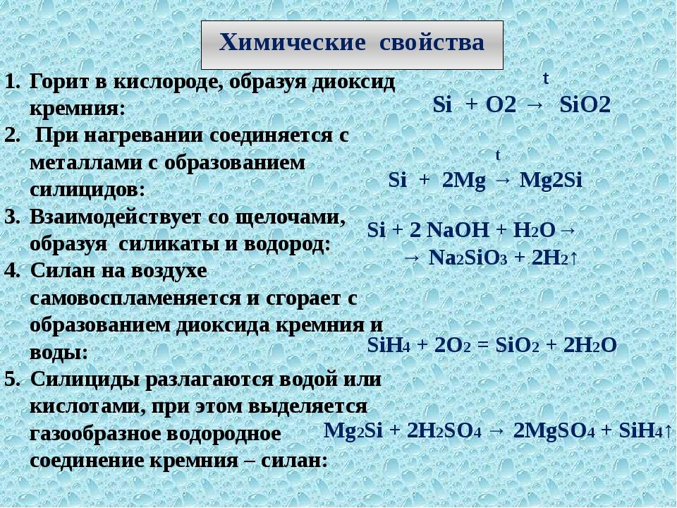 Химические свойства Горит в кислороде, образуя диоксид кремния: При нагревани...