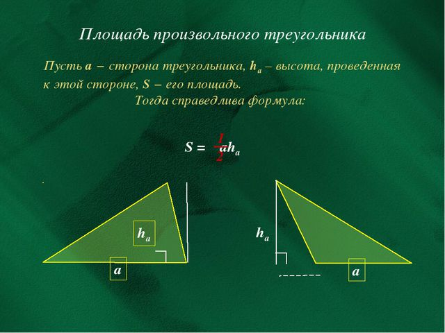 Площадь произвольного треугольника Пусть а − сторона треугольника, hа – высот...