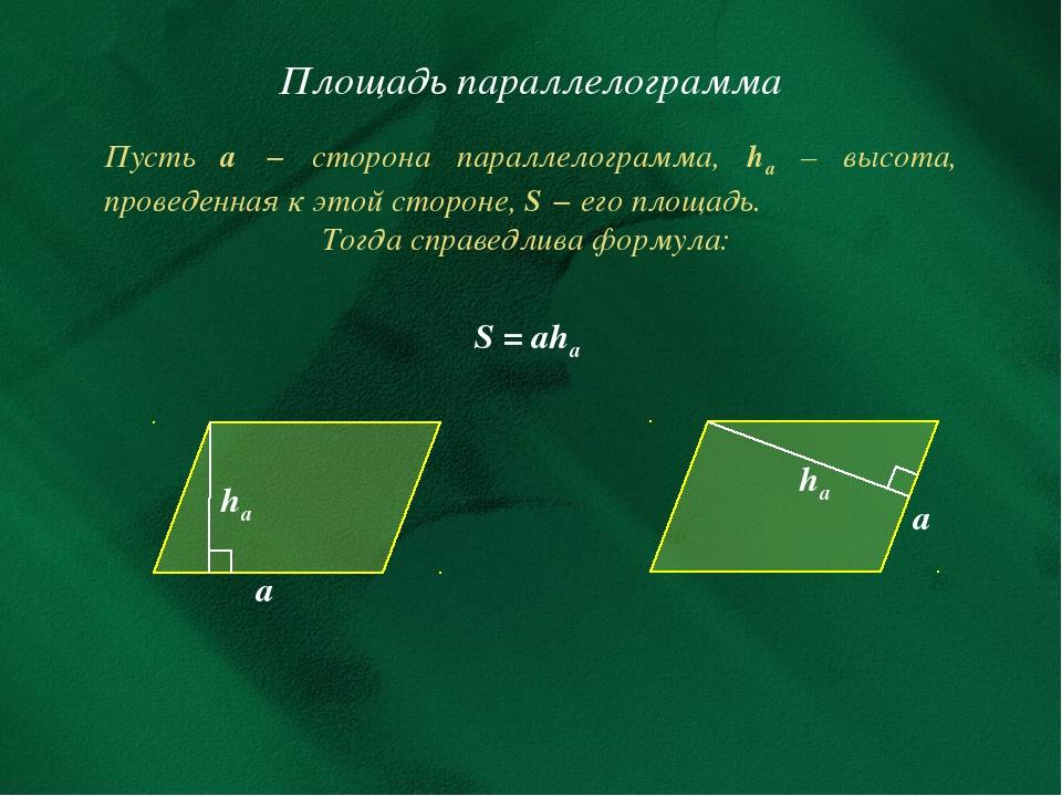 Площадь параллелограмма Пусть а − сторона параллелограмма, hа – высота, прове...